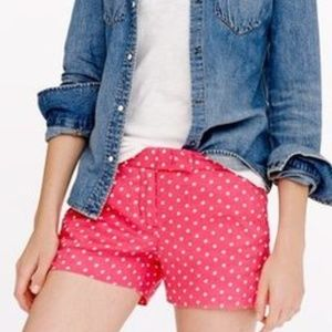 J. CREW LINEN SHORTS PINK WITH WHITE POLKA DOTS